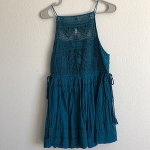 Teal free people lace sundress or top